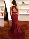 Burgundy Two Piece Chiffon Lace Applique Sleeveless Backless Prom Dress