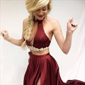 Burgundy Two Piece Halter Keyhole Front Long Evening Dress With Split