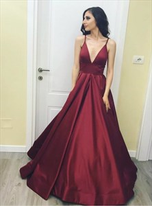 Burgundy Spaghetti Strap Satin Floor Length Prom Dress With Low V Neck