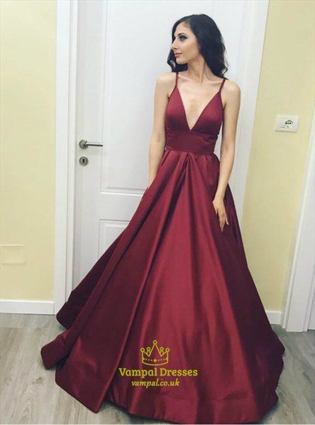 Burgundy Spaghetti Strap Satin Floor Length Prom Dress With Low V Neck