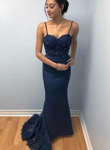 Navy Blue Chiffon Spaghetti Straps Beaded Lace Bodice Long Prom Dress