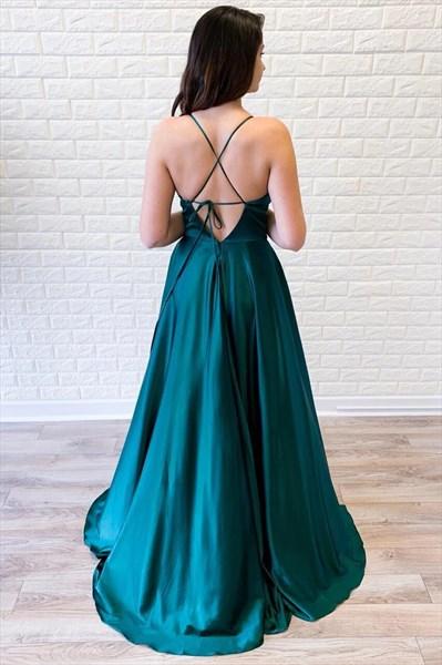 Hunter Green V Neck Empire Waist Spaghetti Strap Backless Prom Dresses