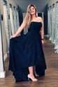 Navy Blue Strapless Satin High Low Prom Formal Dress With Pocket