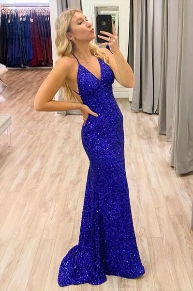 Royal Blue Mermaid Sequin Overlay Deep V-Neck Backless Long Prom Dress