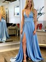 Sky Blue A-Line Deep V-Neck Backless Ruched Prom Dress With Side Split