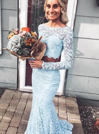 Sky Blue Mermaid Two Piece Lace Overlay Evening Dress With Long Sleeve