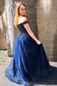 Navy Blue Off The Shoulder A-Line Tulle Prom Dress With Beaded Bodice
