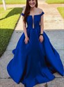 Royal Blue Off The Shoulder Deep Plunge V Neck Satin Long Prom Dresses