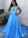 Aqua Blue A-Line V-Neck Pleated Bodice Evening Dress With Beaded Waist
