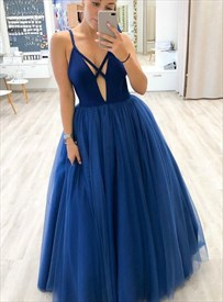 Navy Blue Deep V-Neck Sleeveless Spaghetti Strap Tulle Long Prom Dress