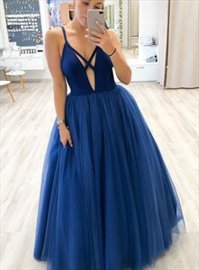 Navy Blue Deep V-Neck Sleeveless Spaghetti Strap Tulle Long Prom Dress