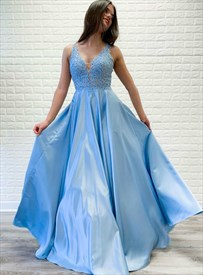 Sky Blue V-Neck Sleeveless Prom Dress With Beaded Lace-Applique Bodice