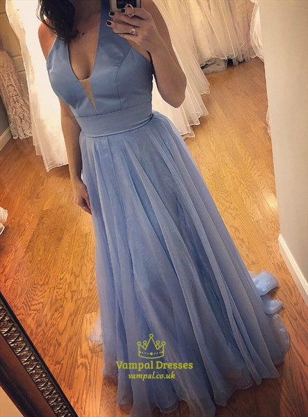 Blue Deep V-Neck Halter Organza Floor Length Prom Dress With Open Back