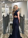 Navy Blue Deep V-Neck Mermaid Pleated Bodice Backless Long Prom Dress
