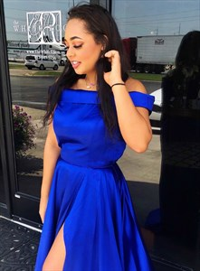 Royal Blue Off The Shoulder Backless Long Prom Dress With Bow In Back