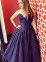 Navy Blue Strapless Sweetheart Long Prom Dress With Embellished Bodice