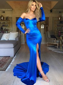 Sapphire Blue Mermaid Off The Shoulder Evening Dress With Long Sleeve