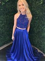 Royal Blue Halter Two Piece Beaded Lace Applique Bodice Prom Dresses