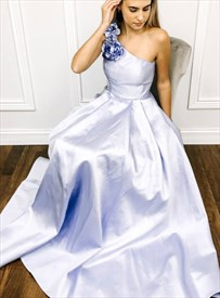Lavender One Shoulder Satin Long Bridesmaid Dresses With Flower Strap