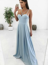Amazing Sky Blue A-Line Spaghetti Strap Floor Length Prom Formal Dress