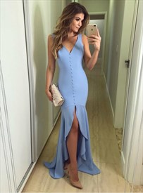 Sky Blue V Neck Sleeveless Split Front Prom Party Dresses With Buttons