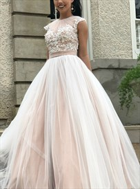 Champagne Illusion Sheer Beaded Lace Applique Tulle Long Evening Dress