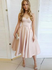 Champagne A-Line Strapless Sweetheart Tea Length Homecoming Prom Dress