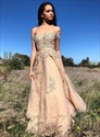 Champagne Off-The-Shoulder Lace Applique Long Prom Dress With Beading