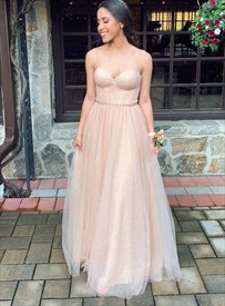 Champagne Strapless Sweetheart Pleated Bodice Tulle Long Prom Dresses