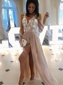 Champagne Sleeveless Embroidered-Lace-Applique Chiffon Long Prom Dress