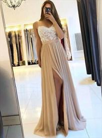 Champagne Chiffon Spaghetti Strap Lace Applique Prom Dress With Split