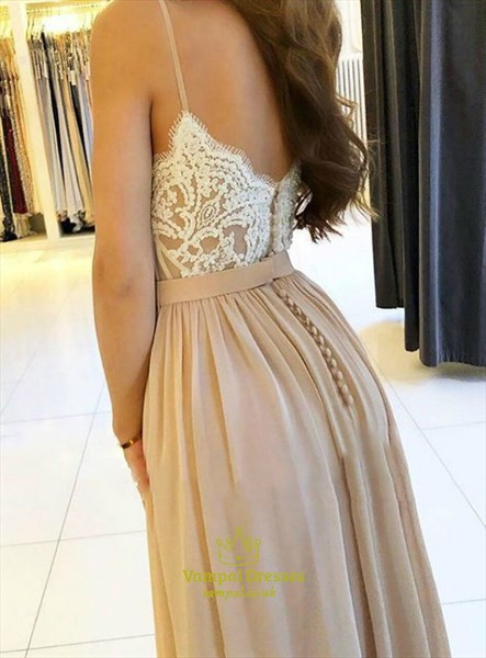 Champagne Chiffon Spaghetti Strap Lace Applique Prom Dress With Split