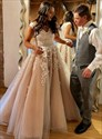 Champagne V-Neck Sleeveless Beaded Lace Applique Ball Gown Prom Dress