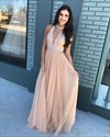 Champagne Deep V-Neck Sleeveless Halter Tulle Prom Dress With Beading