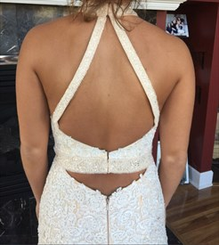 Champagne Mermaid Lace Applique Halter Evening Dress With Back Cut Out