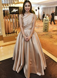 Champagne One Shoulder Pleated Satin A-Line Floor Length Prom Dresses