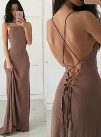 Brown Chiffon Spaghetti Strap Long Prom Dresses With Criss-Cross Back
