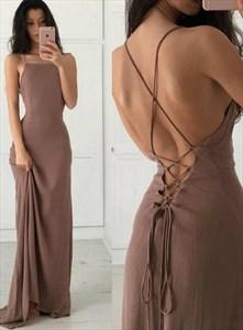 Brown Chiffon Spaghetti Strap Long Prom Dresses With Criss-Cross Back