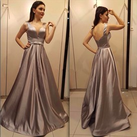 Deep V Neck Sleeveless Backless Satin Floor Length Prom Dress With Bow