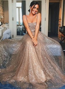Gold A-Line Sequin Sleeveless Tulle Floor Length Prom Dress With Straps