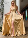 Gold Halter Pleated Criss Cross Back Long Prom Dresses With Side Split