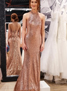 Rose Gold Mermaid Sequin Halter High Neck Long Prom Dresses With Split