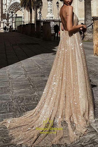 Gold V Neck Sequin Overlay Ruched Spaghetti Strap Backless Prom Dress