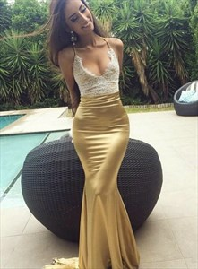 Gold Mermaid Deep V Neck Lace Applique Long Prom Dress With Open Back