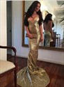 Sexy Gold Sequin Deep V Neck Spaghetti Strap Prom Dress With Open Back