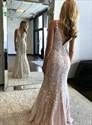 Champagne V Neck Mermaid Spaghetti Strap Lace Applique Long Prom Dress