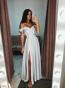 Grey Off The Shoulder Spaghetti Strap Ruffle Neck Prom Dress With Split