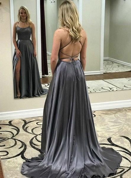 Grey Spaghetti Straps Side Split Long Prom Dress With Criss-Cross Back