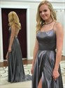 Grey Spaghetti Straps Side Split Long Prom Dress With Criss-Cross Back