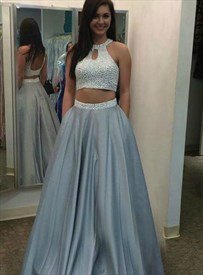 Grey Sleeveless Two Piece Beaded Bodice Halter Keyhole Long Prom Dress